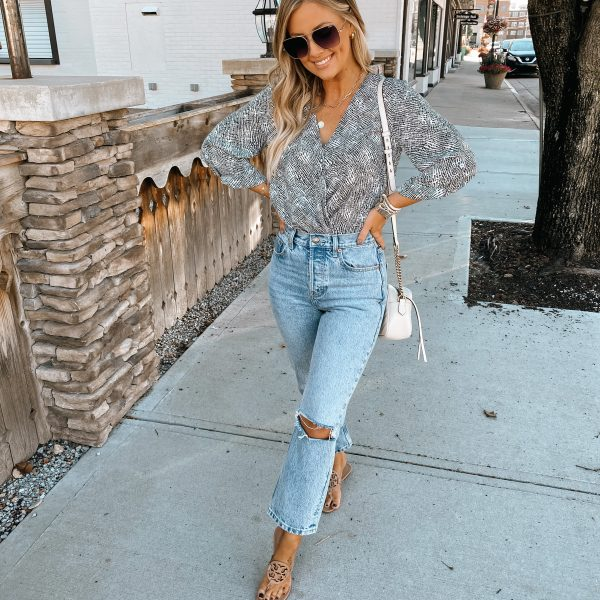 The cutest wrap top to transition from summer to fall!