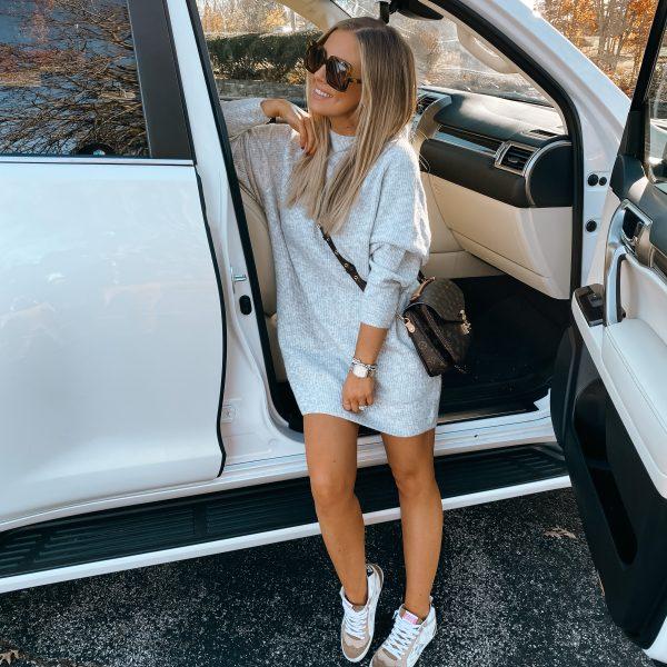 Sweater Dress + Sneakers